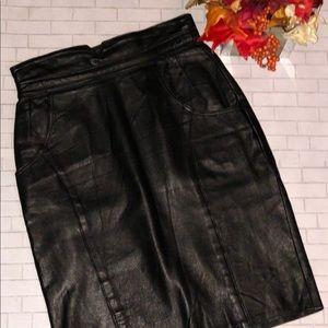 Saks Fifth Avenue - Leather Skirt